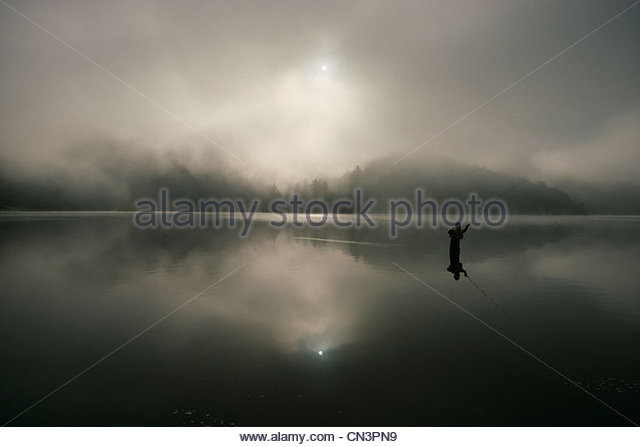 Fly fisherman, Washington, USA - Stock Image
