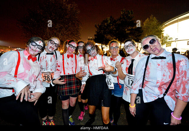 People dressed as zombies at Halloween festival in Derry - Londonderry, Northern Ireland. - Stock Image