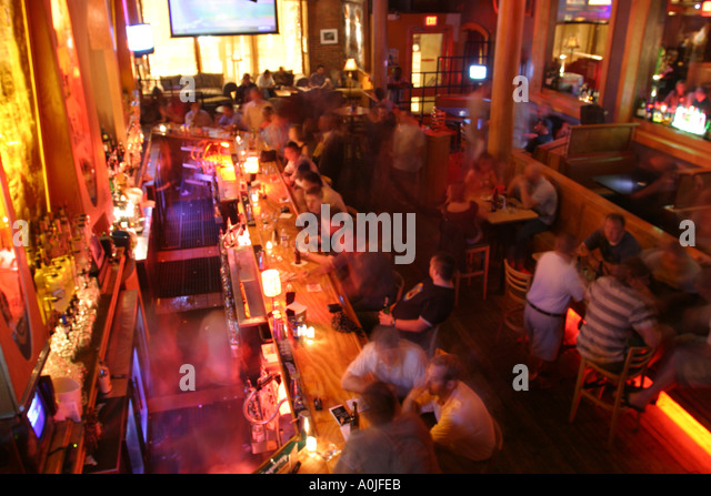 Cleveland Ohio Warehouse District Fusion Liquid nightclub nightlife bar drinking - Stock Image