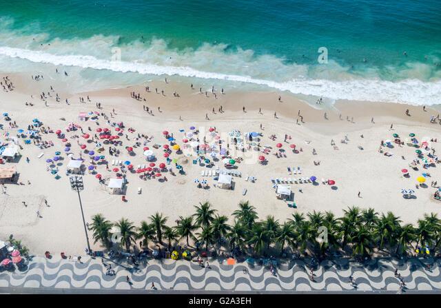 Brazil, Rio De Janeiro, view from above of Copacabana beach - Stock Image