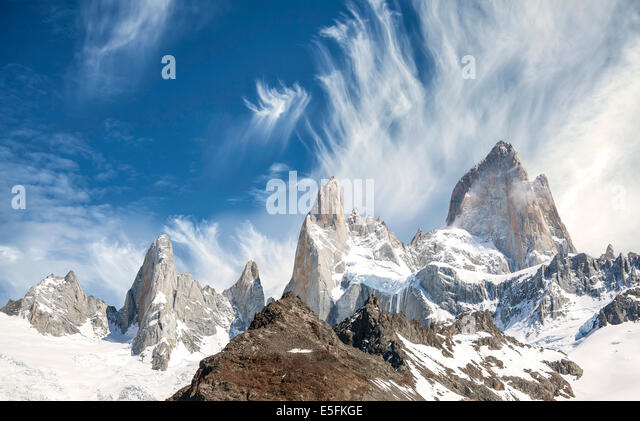 Fitz Roy Mountain Range in Patagonia, Argentina - Stock Image