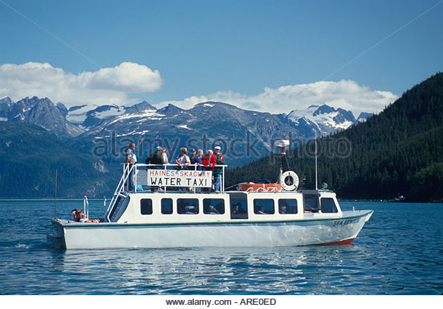 Alaska Haines Portage Cove Haines Skagway Water Taxi Chilkat Range beyond - Stock Image