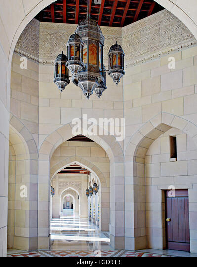 Sultan Qaboos Grand Mosque in Muscat, Oman. - Stock Image