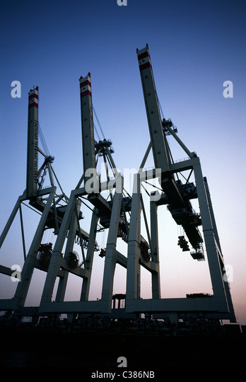 HHLA Tollerort Container Terminal at dusk in Steinwerder in the port of Hamburg. - Stock Image