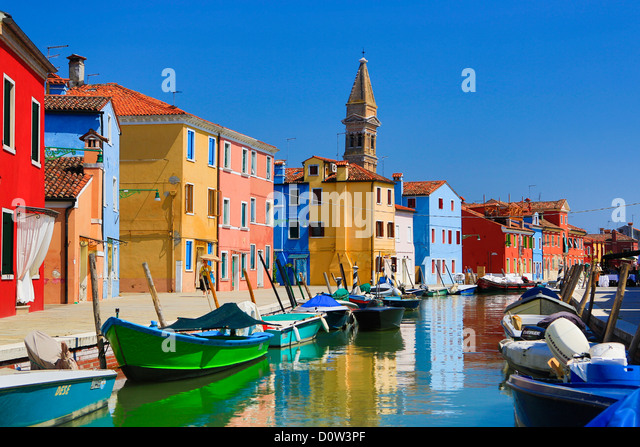 Italy, Europe, travel, Burano, architecture, boats, canal, colourful, colours, tourism, Venice - Stock-Bilder