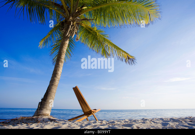 One chair on tropical beach in Key West, Florida, USA - Stock Image