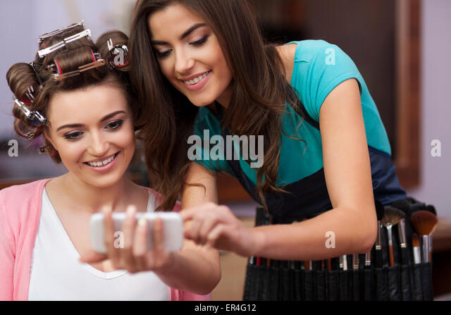 Good advice from makeup artist. Debica, Poland - Stock Image