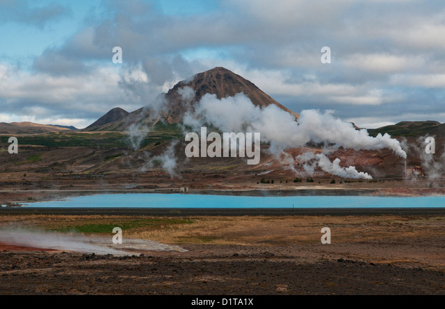 geothermal power and volcanic landscape near Lake Myvatn, Iceland - Stock Image