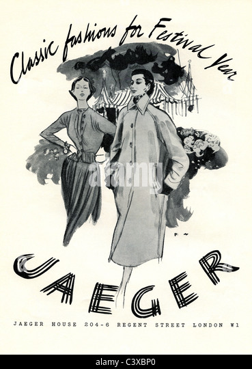 Advertisement for Jaeger, from The Festival of Britain souvenir programme for opening at The Royal Festival Hall. - Stock-Bilder
