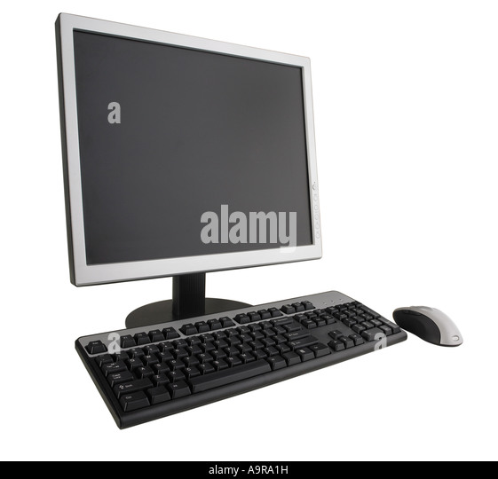 Computer monitor keyboard and mouse - Stock Image