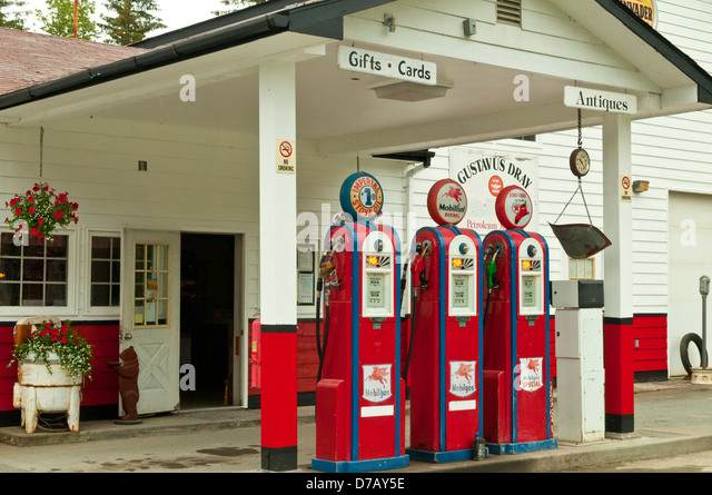Old Petrol Pumps in Gustavus, Alaska, USA - Stock Image