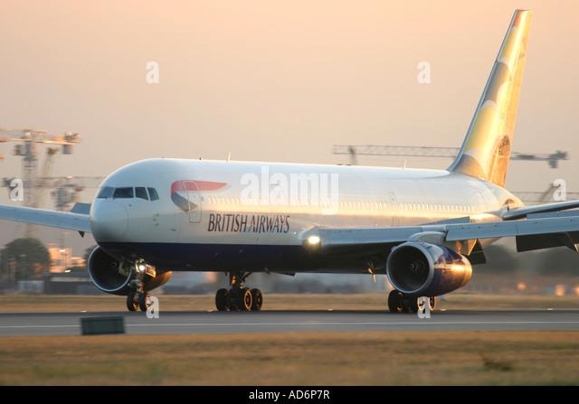 British Airways Boeing 767-336/ER on runway after landing. - Stock Image