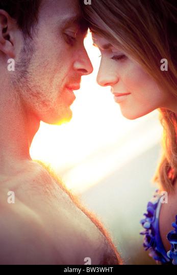 Couple touching foreheads - Stock-Bilder