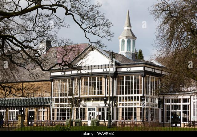 Conservatory in the Pavillion Park, Buxton,Peak District, Derbyshire - Stock Image