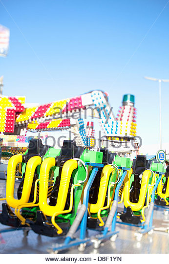 Roller coaster ride fun fair seats dangerous - Stock Image