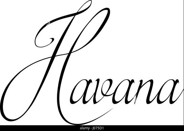 Havana text sign illustration on white bachground - Stock Image
