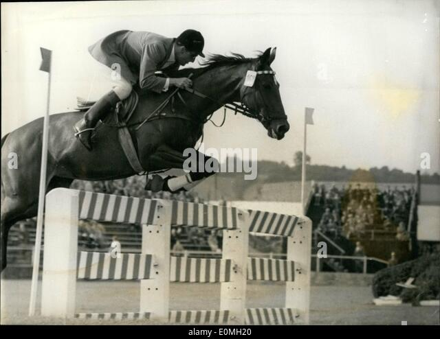 Jul. 07, 1955 - H.G. Winkler at Show Jumping Championship. The German champion H.G. Winker was again the winner - Stock Image
