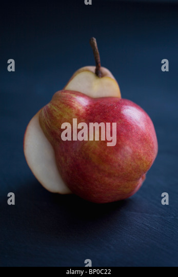 Split red pear - Stock Image