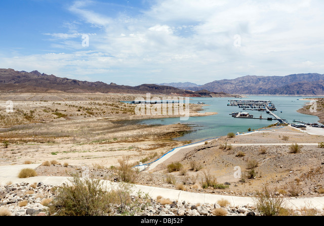 View from deck at Callville Bay Marina showing water level, which, in 1998, reached path in foreground, Lake Mead, - Stock Image