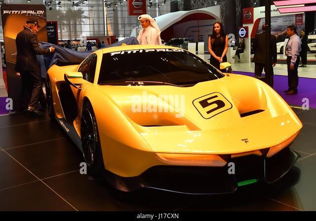 Doha, Capital of Qatar. 18th Apr, 2017. A Pininfarina SpA Fittipaldi EF7 Vision Gran Turismo racing automobile is - Stock Image
