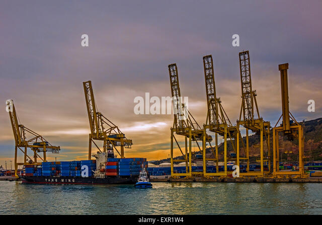 Dockside Cranes and Container Ship Barcelona Spain - Stock Image