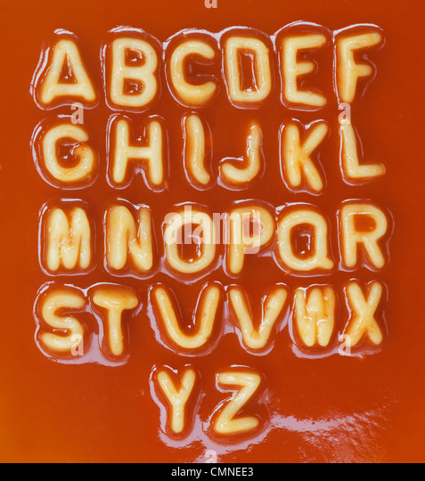 Alphabet spaghetti letters in alphabetical order - Stock Image