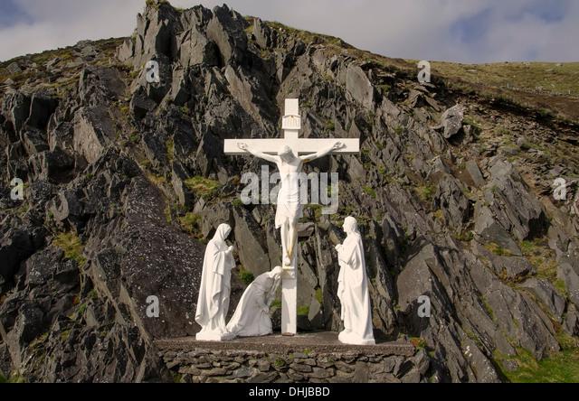 Crucifixion scene on Slea Head Drive, Dingle Peninusla Ireland - Stock Image