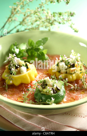Stuffed squash melons with gaspacho - Stock Image