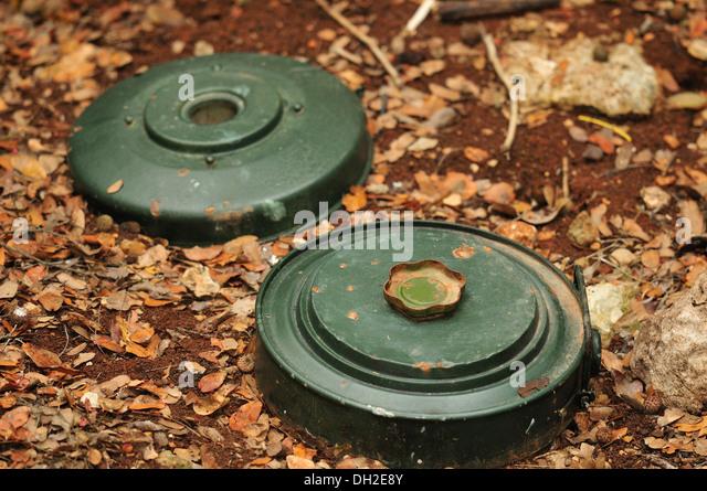 The M15 mine is a large circular U.S. anti-tank blast mine, Mleeta, Hezbollah Museum, South Lebanon. - Stock Image