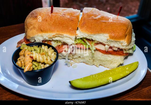 Myrtle Beach South Carolina SC Dagwood's Deli & Sports Bar restaurant casual dining turkey sandwich pickle - Stock Image