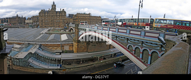 Northbridge Panorama Edinburgh Scotland UK EH1 vista from the Scotsman hotel over to Balmoral - Stock Image