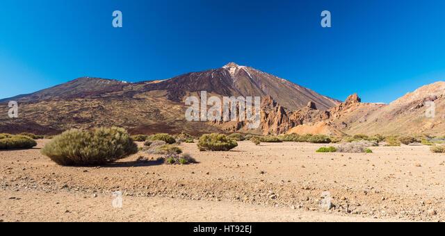 Pico del Teide Mountain with Volcanic Landscape, Parque Nacional del Teide, Tenerife, Canary Islands, Spain - Stock Image