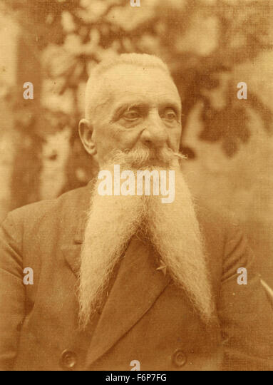 Portrait of a man with a long beard forked, Italy - Stock Image
