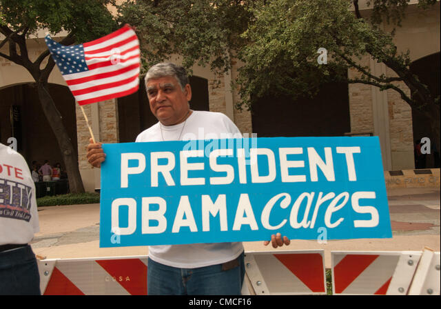 17 July 2012 San Antonio, Texas, USA - A supporter of President Obama at the Henry B. Gonzalez Convention Center - Stock Image