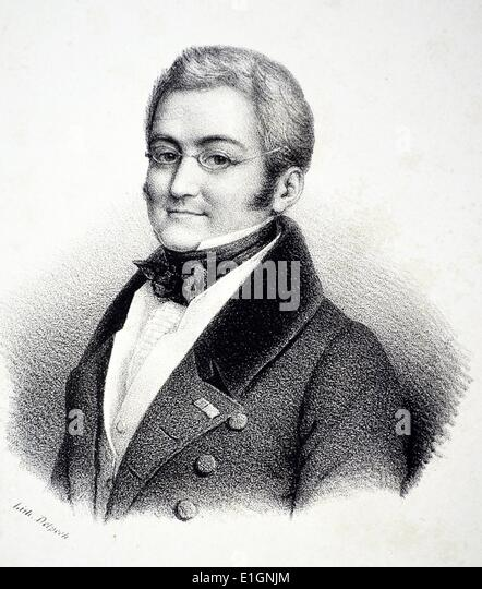 (Marie Joseph Louis) Adolphe Thiers (1797-1877) French politician and historian.  Lithograph, Paris, c1840. - Stock Image