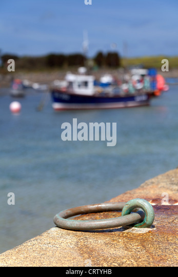 Boat ring harbour wall, Bordeaux Harbour Guernsey, Channel Isles - Stock Image
