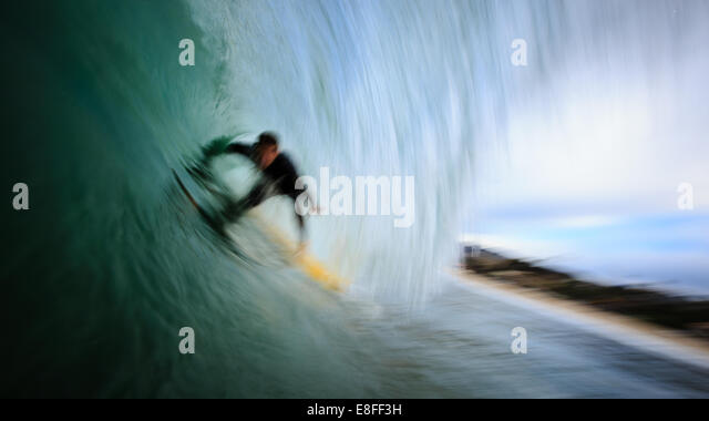 Surfer on wave - Stock-Bilder