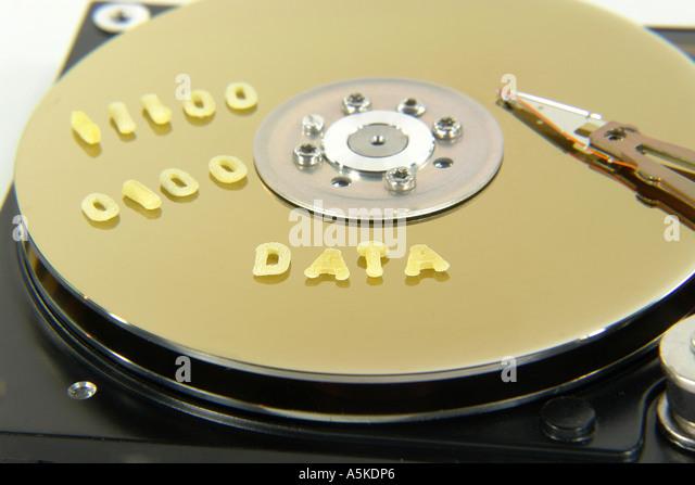 Symbolic Image data on a Harddisc (DATA) - Stock Image