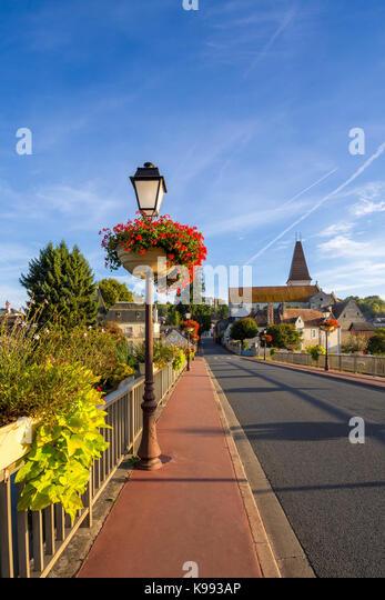 Decorated bridge across river, Preuilly-sur-Claise, France. - Stock Image