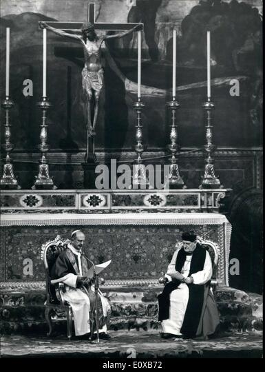 Mar. 03, 1966 - Vatican City 23.3.66 The Historical meeting between the Pope and the Archbishop of Canterbury Dr. - Stock Image
