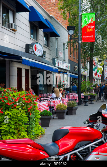 Little Italy on boulevard Saint laurent Montreal Canada - Stock Image