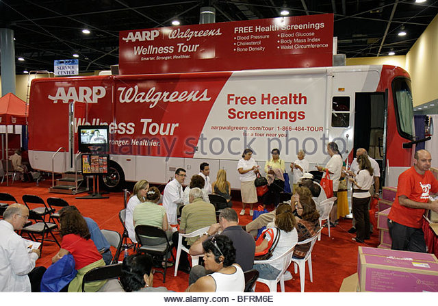 Miami Beach Miami Florida Beach Convention Center centre Health & and Fitness Expo AARP Walgreens free screening - Stock Image