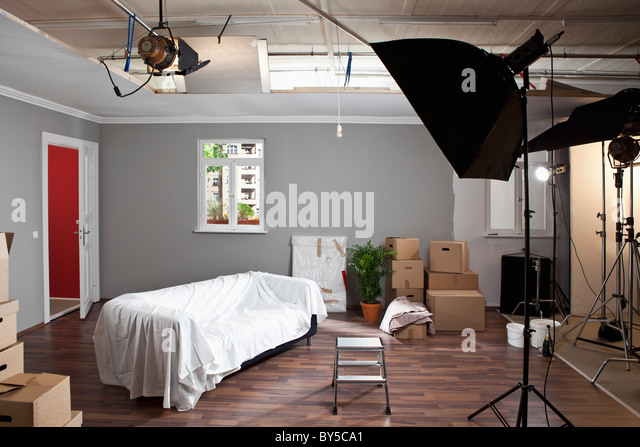 A fake living room in a production studio - Stock Image