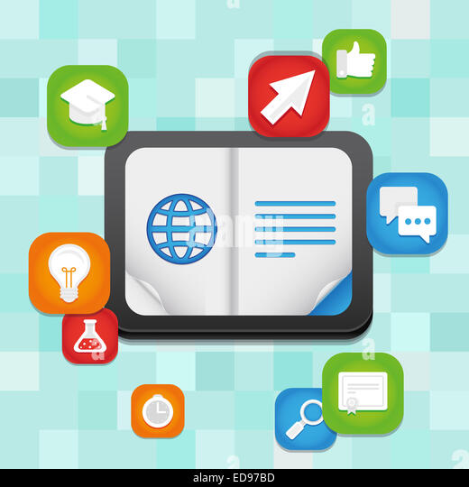 Online education concept - learning and teaching using digital technology and devices - Stock Image