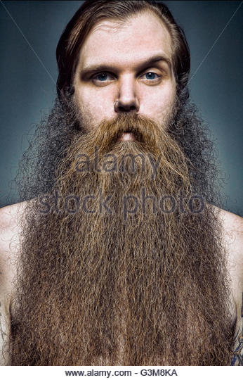 Portrait of man with long beard looking at camera - Stock Image