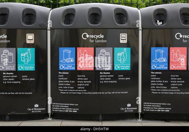 Recycling Bins, Westminster, London, UK. - Stock Image
