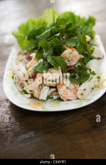 Seafood salad with mint - Stock-Bilder