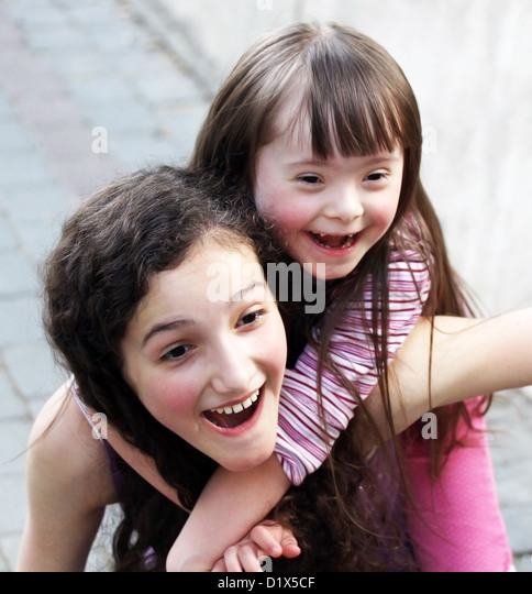 Portrait of beautiful young girls outside - Stock-Bilder