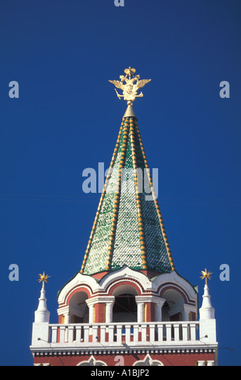 Moscow Russia Kremlin Tower bright colors - Stock Image