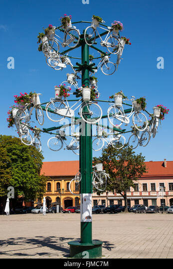 geography / travel, Lithuania, Kaunas, townhall square with bicycle sculpture, Lietuva, Baltics, Baltic area, Baltic - Stock-Bilder